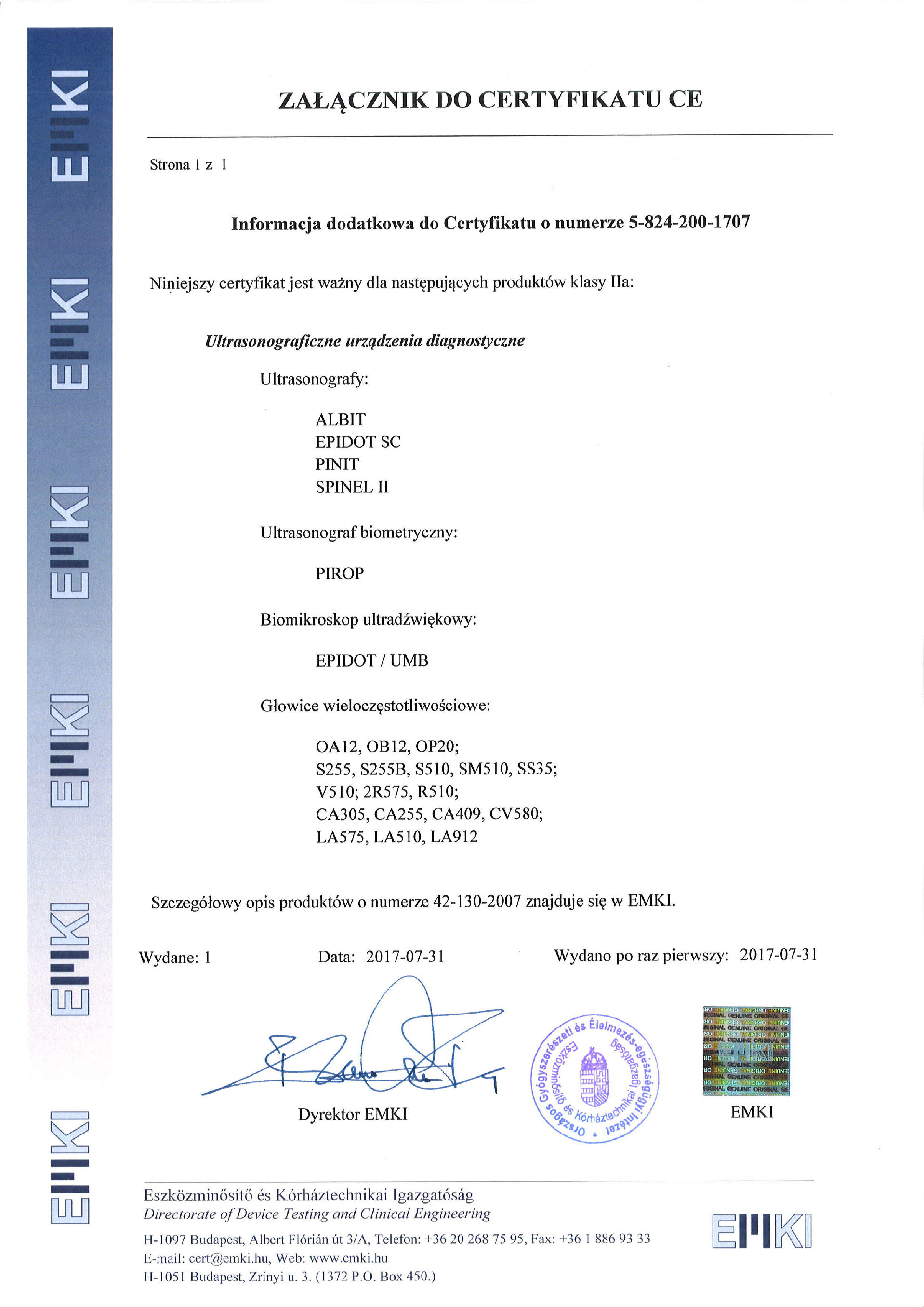 Załącznik do Certyfikatu CE