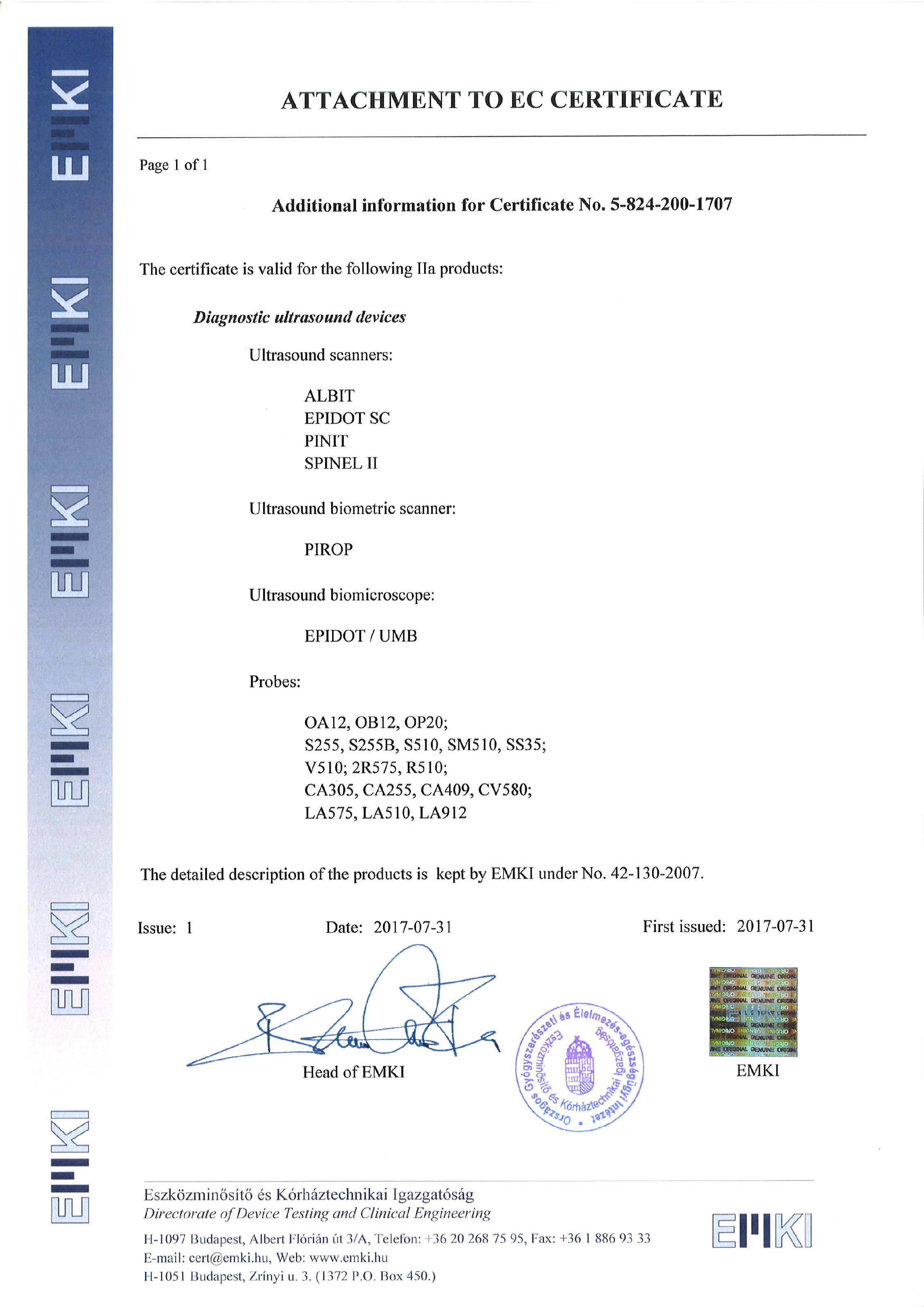 Attachment to CE Certificate